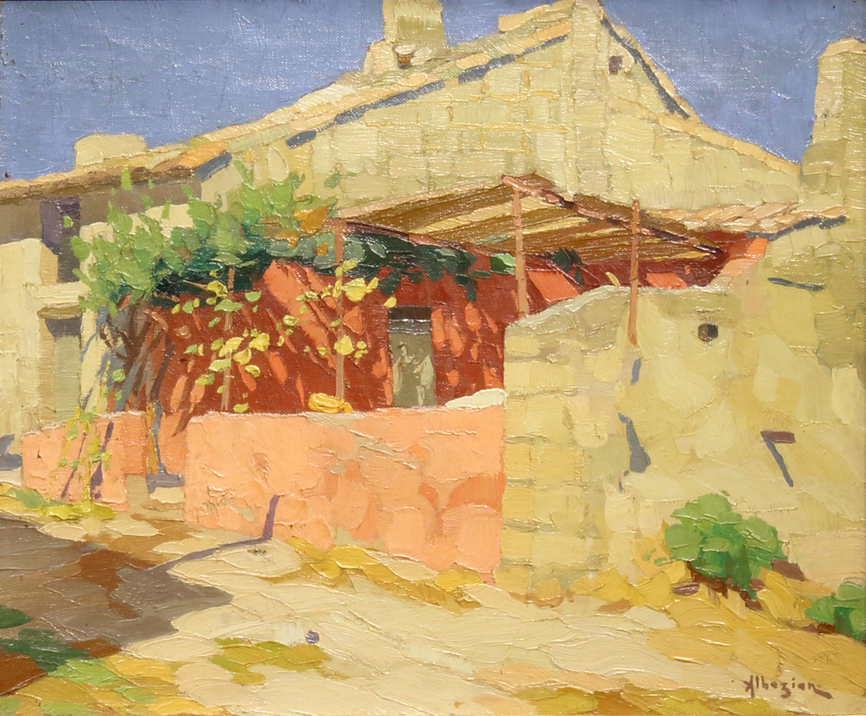 Ohannes Alhazian, La terrasse Ombragée, 15.5x20 inches, Oil on canvas