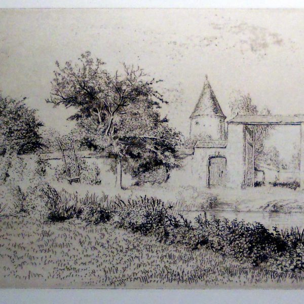 Edgar Chahine, Marche a Paris, Drypoint, Etching, signed in pencil lower left. Ref. Tabanelli 323