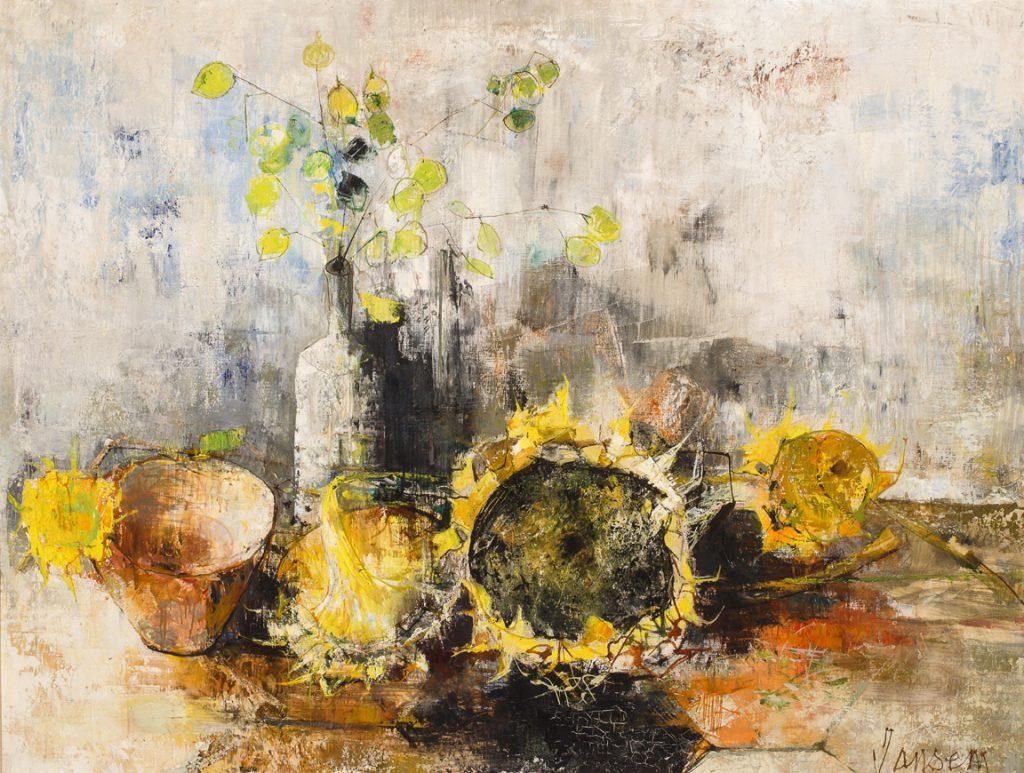 Jean Jansem, Nature Morte Aux Tournesols ,35x46 inches, oil on canvas, signed lower right