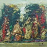 Robert Elibekian, Actresses Resting, 7x9 in, oil on canvas board