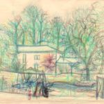 Jean Carzou, House by the roadside, 1997 , crayon and ink on paper 17.5 x21.5 inches