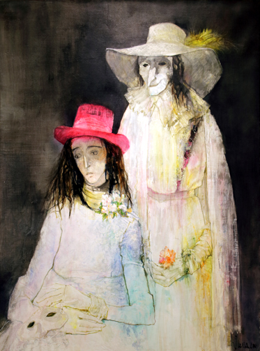 Jean Jansem, The Masquerade, 38x50 inches, oil on canvas 1970's, Jansem oil painting
