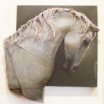 Loretta Tearney Warner, Equus, 30x28.5 inches, burlap stitched to linen and paint
