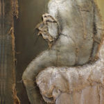 Loretta Tearney Warner, Seated Woman, 69x37 inches, burlap stitched to linen and paint
