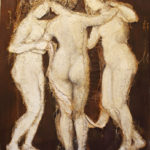 Loretta Tearney Warner, The three Graces, 60.5x48 inches, burlap stitched to linen and paint