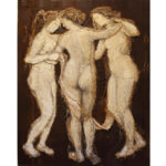 Loretta Tearney Warner, The three Graces, 60.5x48 inches, burlap stitched to linen and paint.