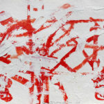 Harry Bertschmann, Untitled, AbEx, Red and White, 2004, 12x15.75 inches, acrylic on papaer, signed lower middle