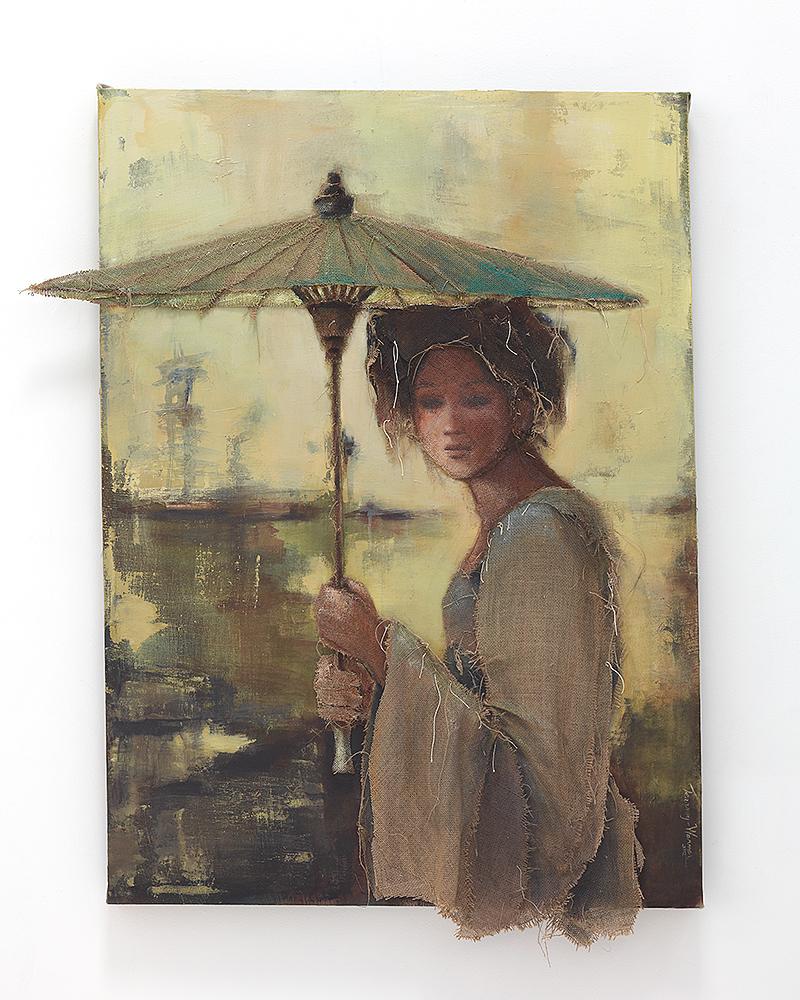 Loretta Tearney Warner, Asian.Woman.w.Umbrella 52x41 inches.