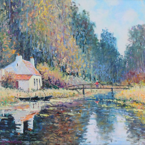 Yetvart Kaprielian, Bord du Zieux a Clairmarais, 13x16.5 inches oil on canvas, 17.5x21 inches with framed