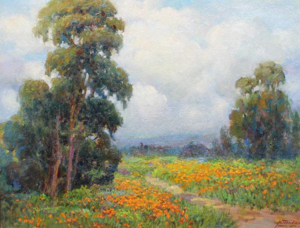 Lynn Gertenbach, Sundown in Poppy field, oil on canvas 24x30