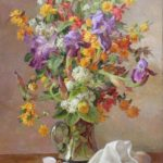 François Baboulet, Bouquet of flowers with butterflies 32x21.5 in. , oil on canvas