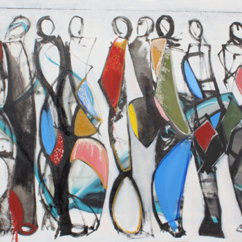 Koko, 9 geometric figures 36x48 in. oil on canvas, stephanies gallery