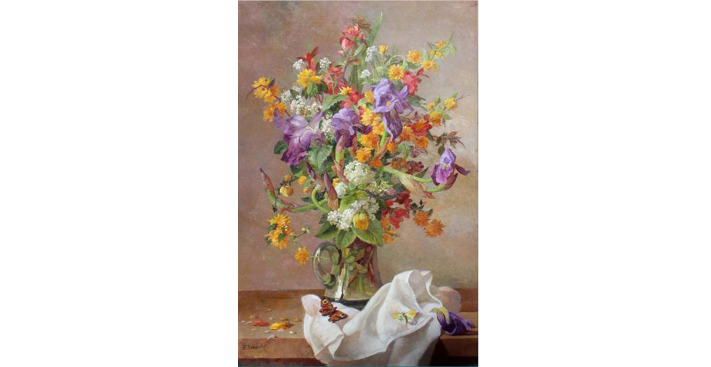 François-Baboule, Bouquet of -flowers with butterflies 32 x21.5 inches , oil on canvas