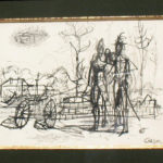 Jean Carzou, 11.5x9 inches, ink on paper, year 1949