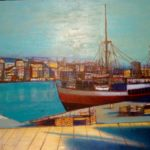 Jean Carzou, Bateau dans le port, 22x26 inches, oil on canvas, 1991