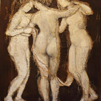 Loretta Tearney Warner, The three Graces, 60.5x48 inches, burlap stitched to linen and paint FR