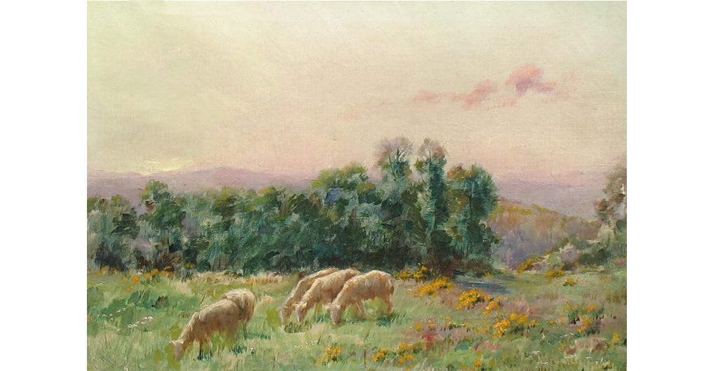 Sarkis Diranian, Les moutons au pâturage , 13×10 inches, oil on canvas