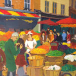Areg Elibekian, Market scene on Mouffetard, , 16x12 in. , oil on canvas