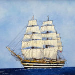 Louis Letouche, Amerigo Vespucci, voilier ecole Italien, 18x13 inches, oil on canvas board
