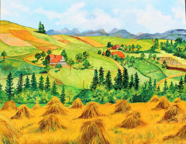 Louis Letouche, Moisson a Rueggisberg, canton de Berne, Suisse, 18x13 inches, oil on canvas board