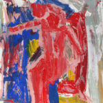 Harry Bertschmann, Red Abstract Figure, 1970, 24x18 inches, acrylic on paper, signed lower right